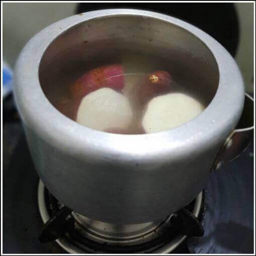 Cut the sweet potato for making sweet potato chaat