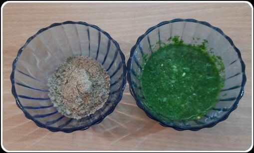 Mint chutney and spices for sweet potato chaat