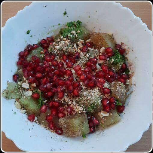 Mix everything to make the sweet potato chaat