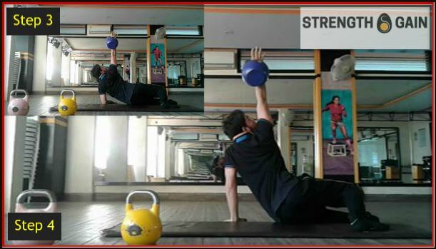 Doing a kettlebell exercise with 12kg kettlebell