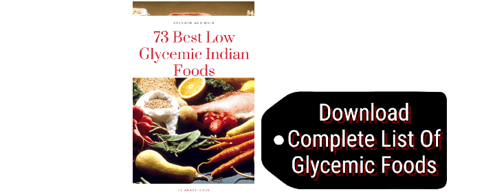 Book cover showing 73 low glycemic Indian foods with a download now tag