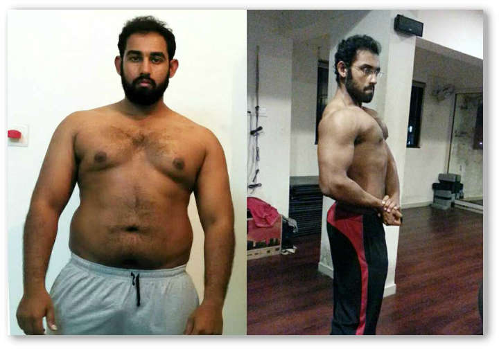 Before after transformation from 102 kg to 78 kg